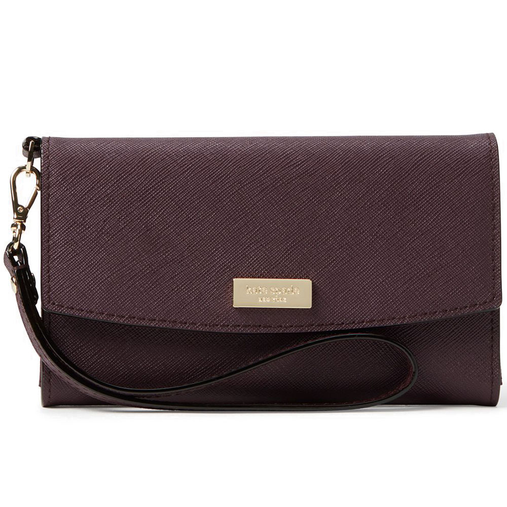 Kate Spade Laurel Way iPhone Wristlet Mahogany # WLRU2666