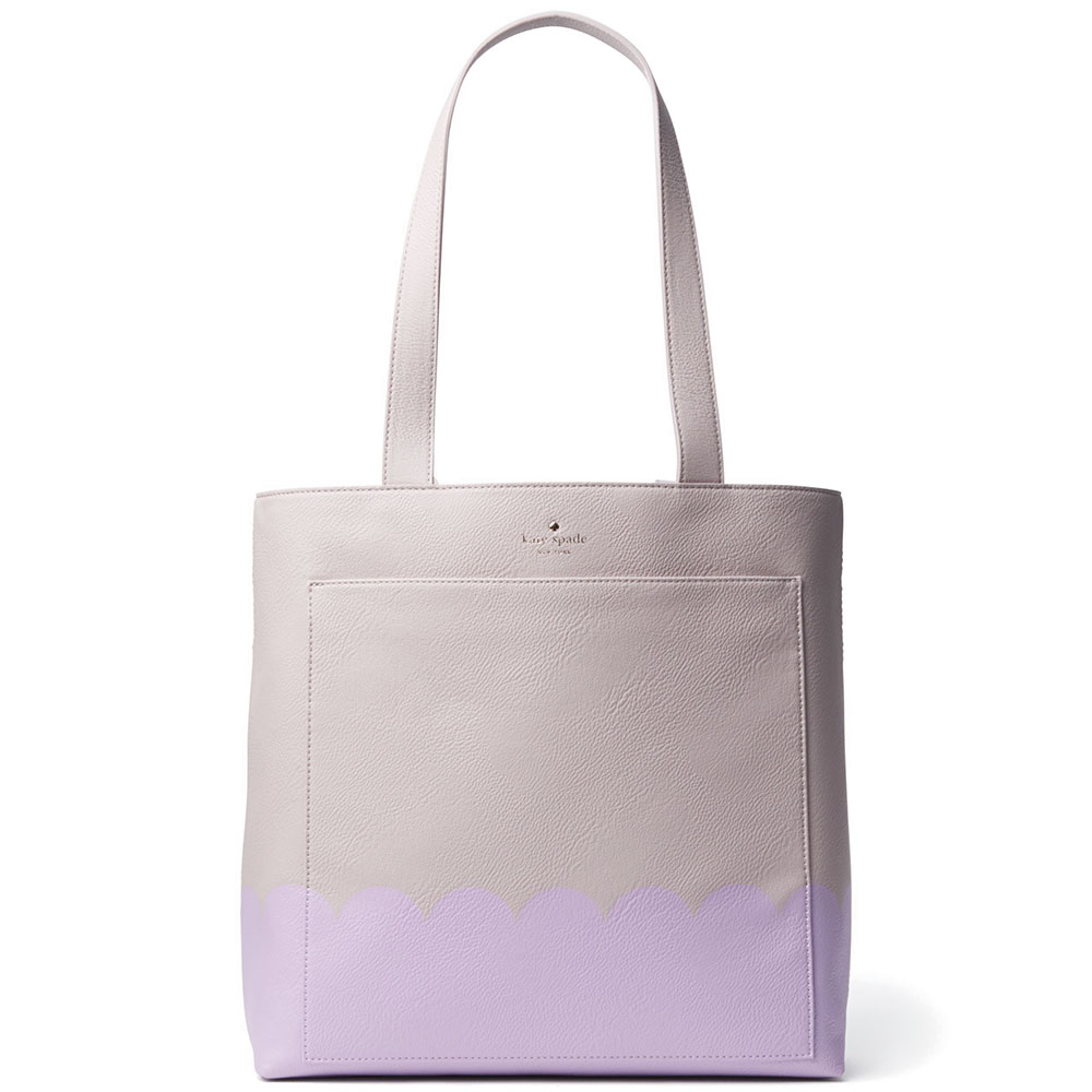 Kate Spade Lita Street Scallop Tote Shoulder Bag Lilac Purple Cream # PXRU7348