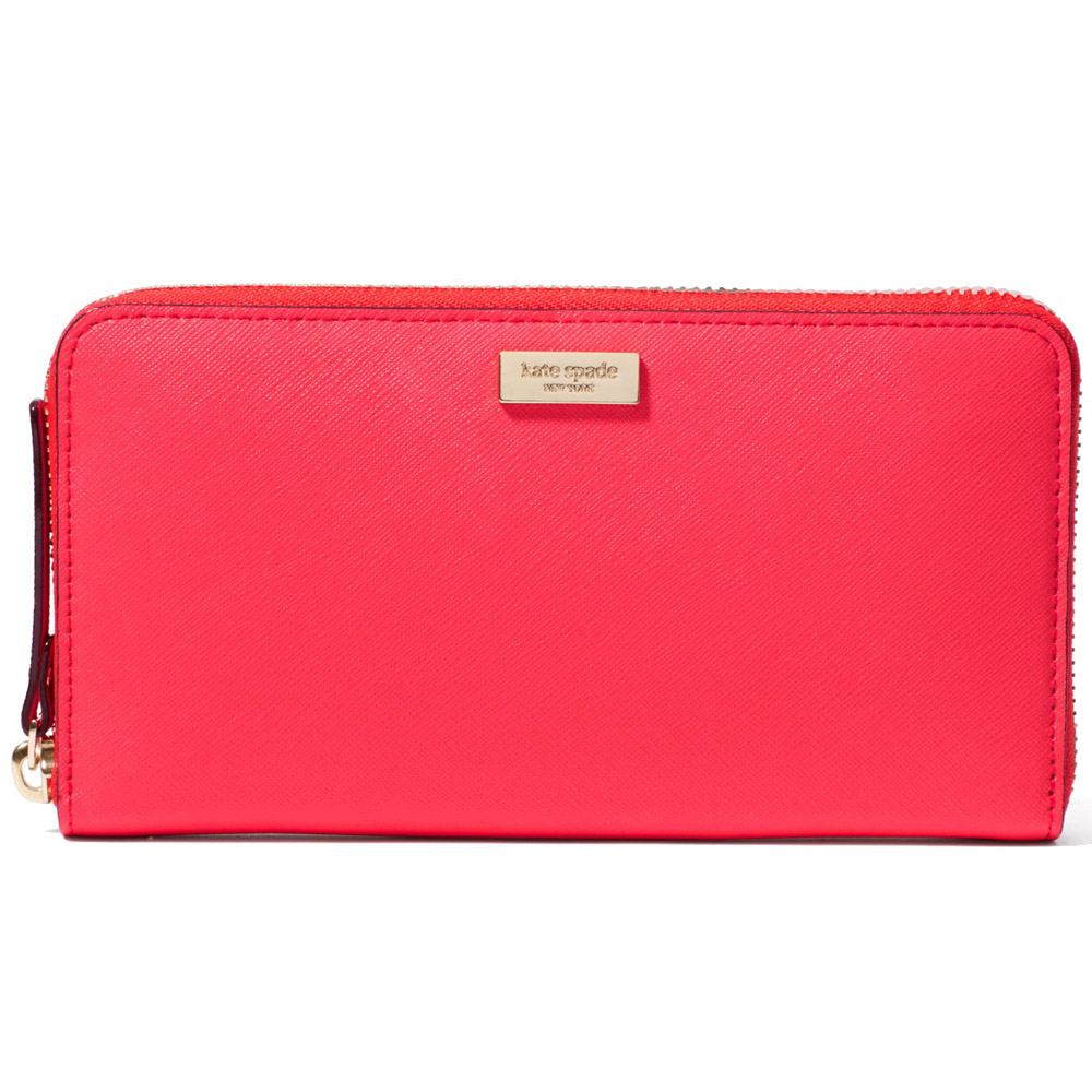 Kate Spade Newbury Lane Neda Zip Around Continental Long Geranium Red # WLRU1498