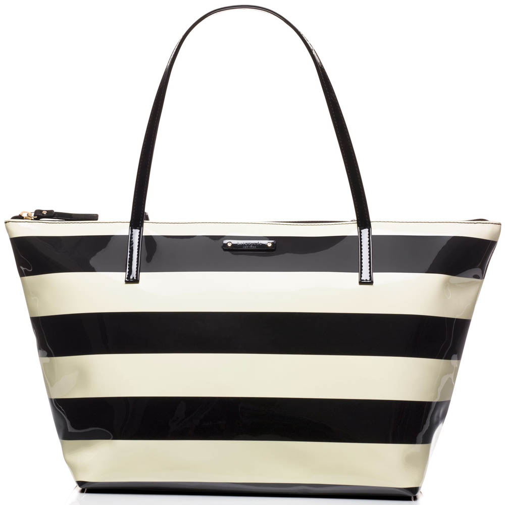 Kate Spade Penn Valley Sophie Zip Tote Shoulder Bag Black / Cream Stripe # WKRU2884
