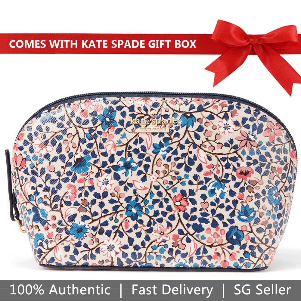 Kate Spade Pouch In Gift Box Cameron Street Ditsy Vine Small Abalene Comestic Pouch Cream Blue Multi # PWRU6564