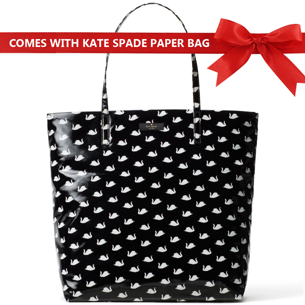 Kate Spade Shoulder Bag Tote Daycation Bon Shopper Tote Black / White Small Swans # WKRU4670