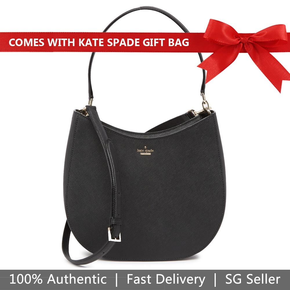 Kate Spade Shoulder Bag With Gift Bag Cameron Street Lora Hobo Crossbody Bag Black # PXRU9447