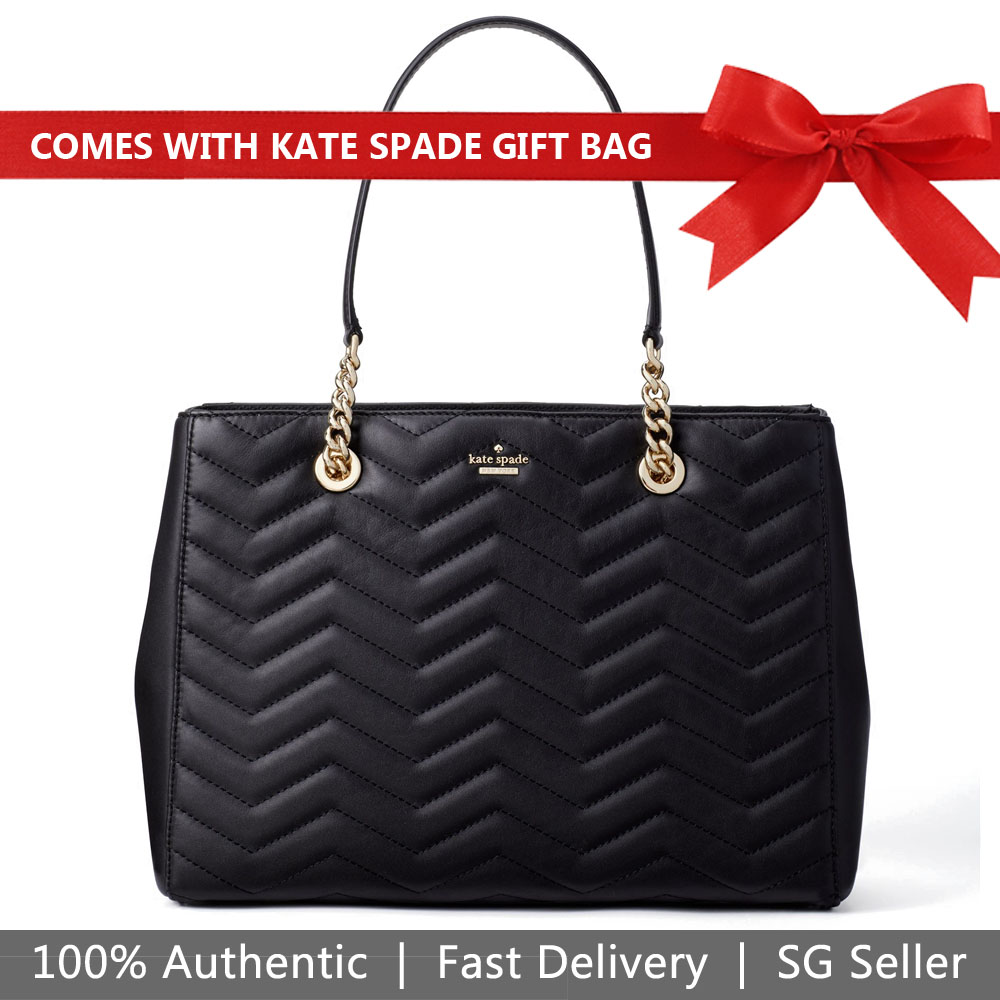 Kate Spade Shoulder Bag With Gift Bag Reese Park Courtnee Tote Black # PXRU9218