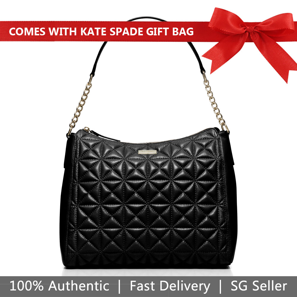 Kate Spade Shoulder Bag With Gift Bag Whitaker Place Aurelia Quilted Leather Black # WKRU3272