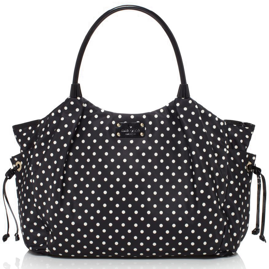 Kate Spade Spot Nylon Stevie Baby Bag Black / Cream Polka Dot # WKRU1613