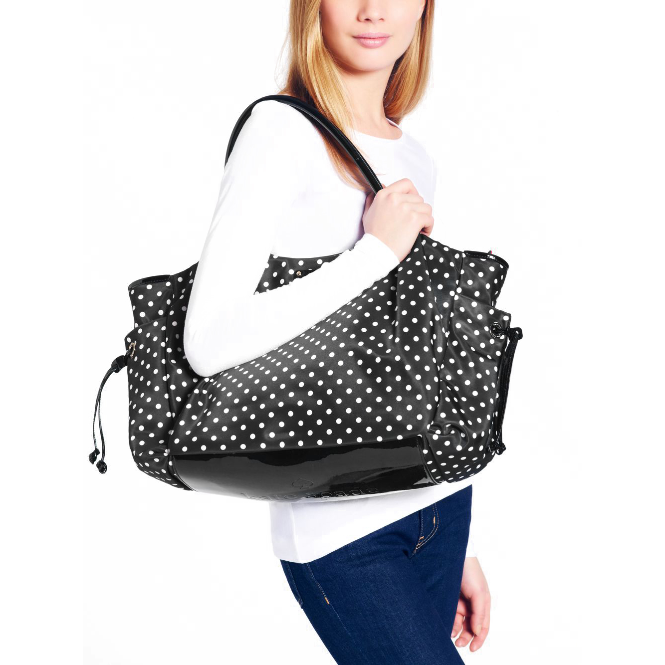 Kate Spade Spot Nylon Stevie Baby Bag Black Cream Polka Dot Wkru1613