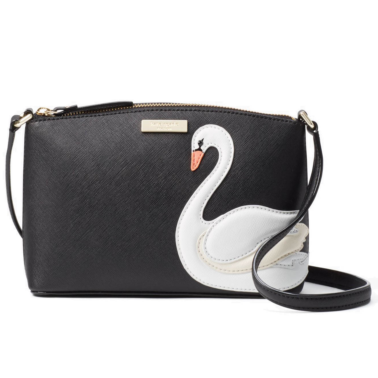 Kate Spade Swan Around Millie Crossbody Bag Black Swan Multi # WKRU4631