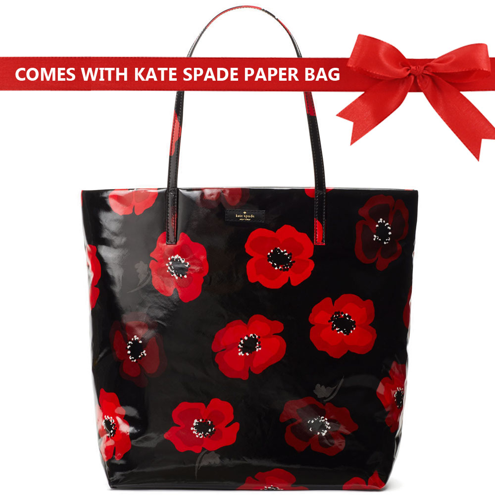 Kate Spade Tote Shoulder Bag Daycation Poppy Bon Shopper Tote Red / Black # WKRU5540