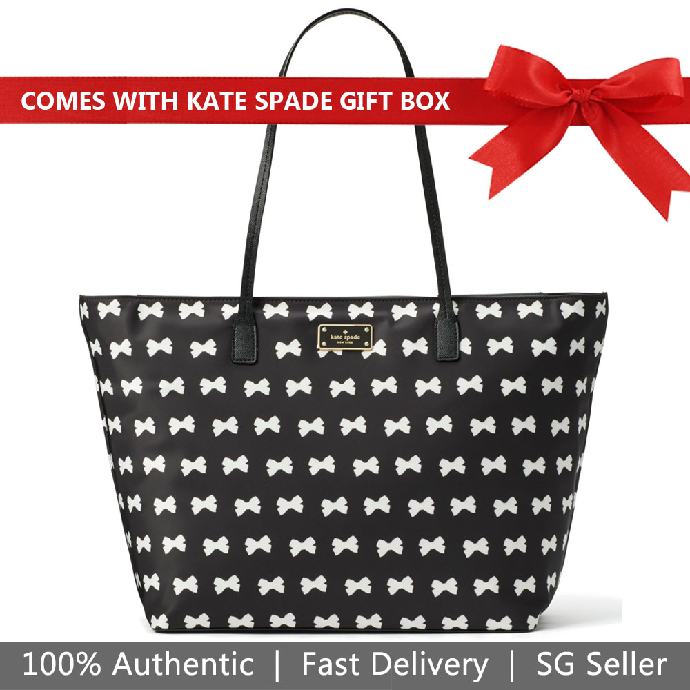 Kate Spade Tote With Gift Bag Blake Avenue Bow Margareta Black / Cream Off White # WKRU4835