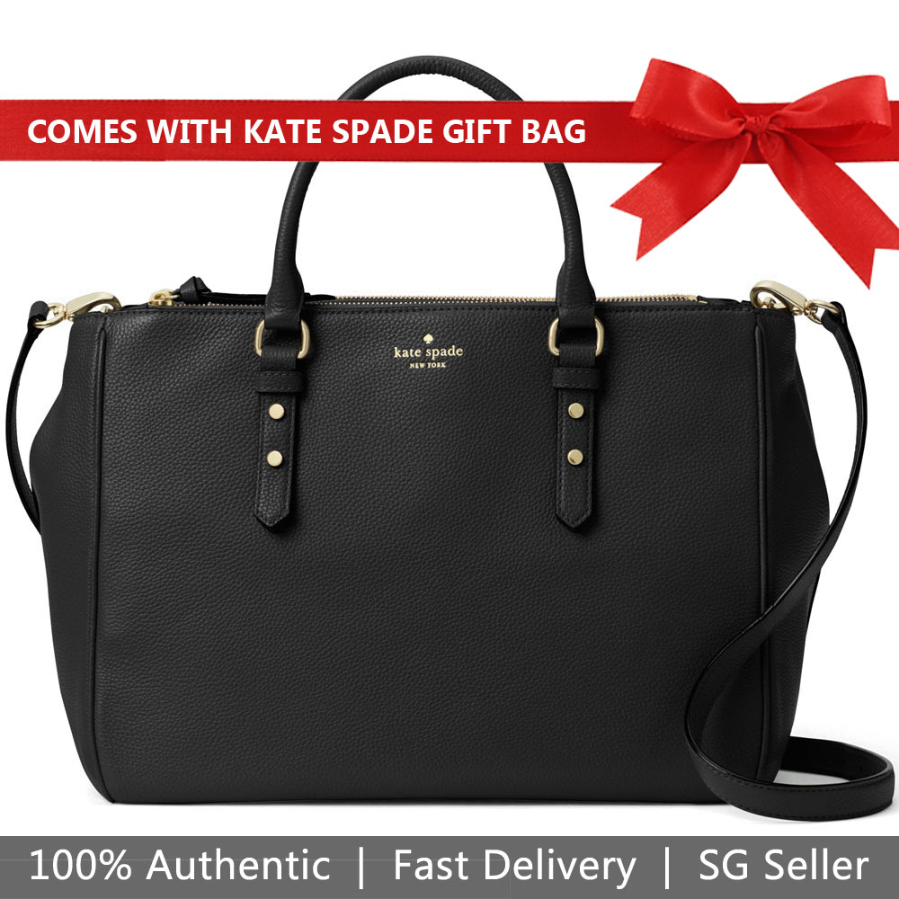 Kate Spade Tote With Gift Bag Mulberry Street Leighann Shoulder Bag Black # WKRU3927