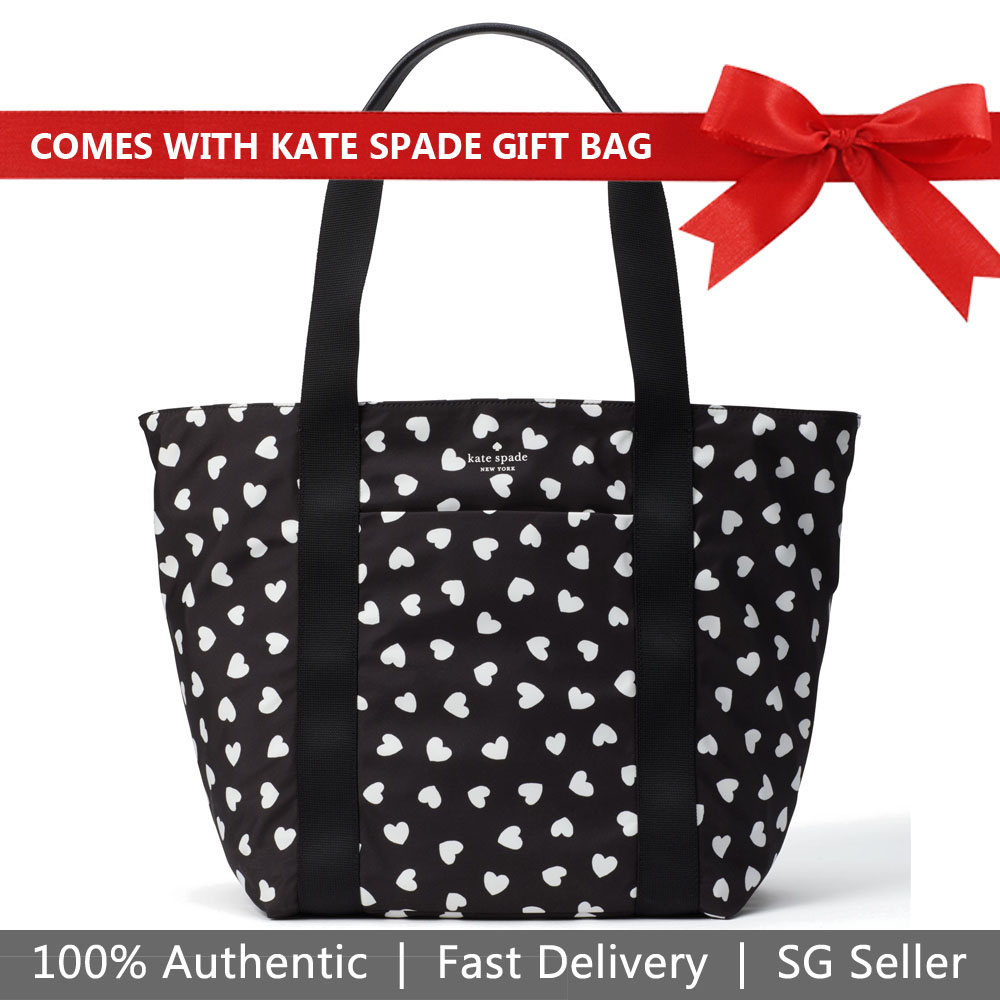 Kate Spade Tote With Gift Bag That's The Spirit Tote Black / Cream # PXRUA106
