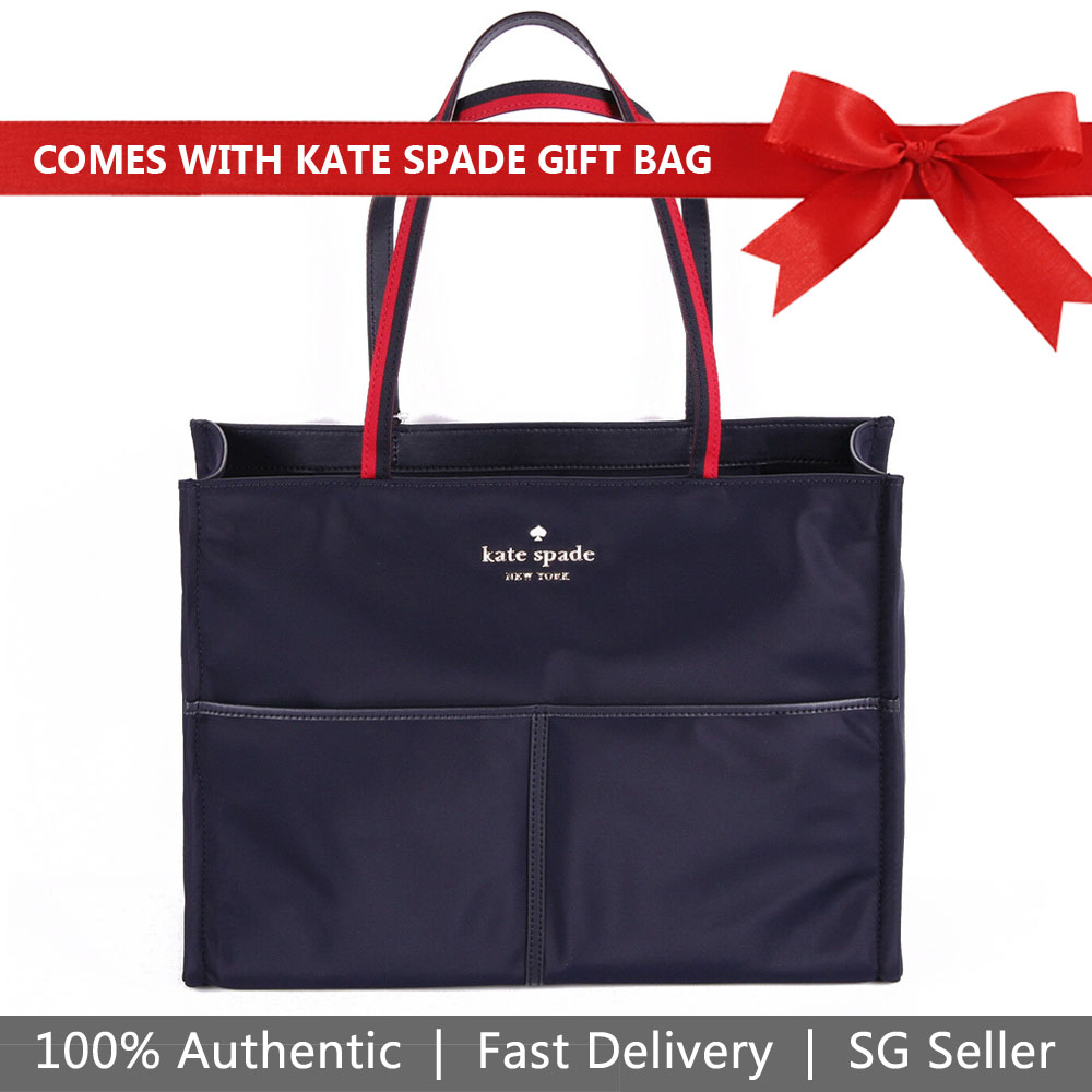 Kate Spade Tote With Gift Bag Watson Lane Varsity Stripe Mega Sam Shoulder Bag Rich Navy Dark Blue # PXRU9452