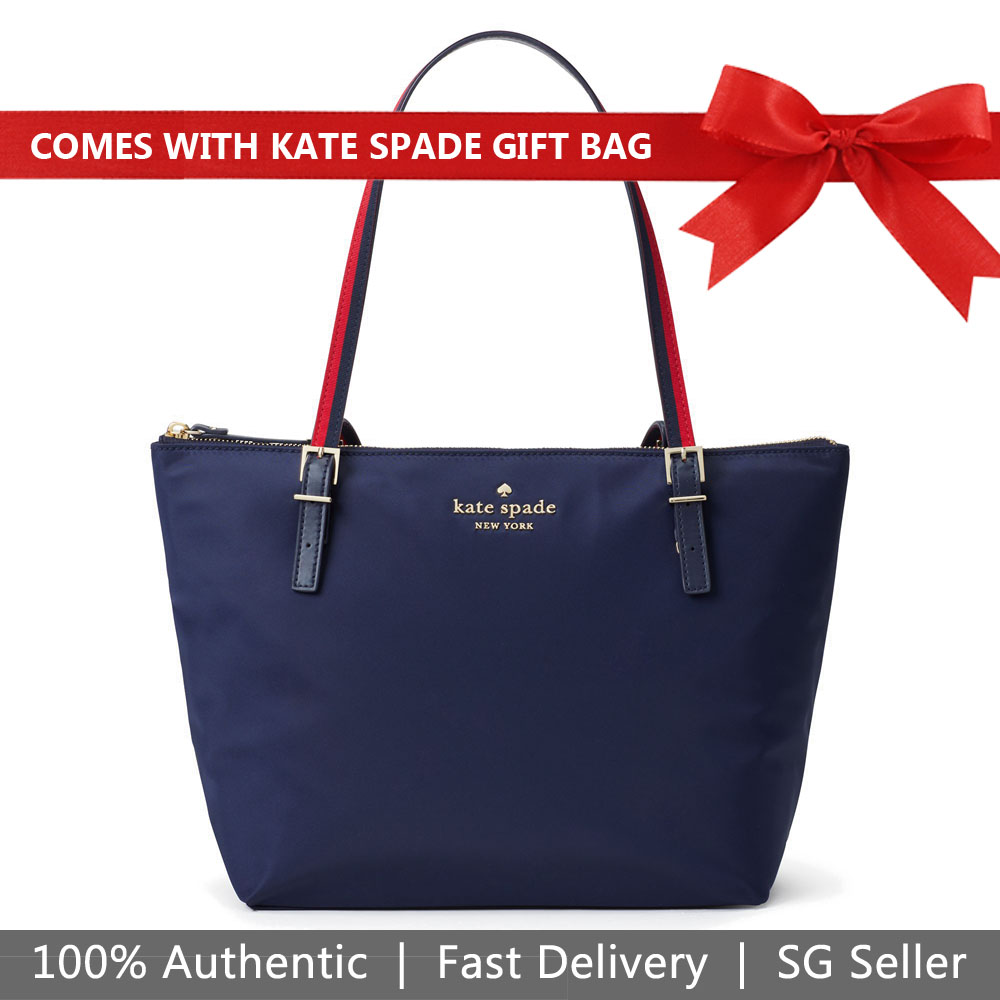 Kate Spade Tote With Gift Bag Watson Lane Varsity Stripe Small Maya Shoulder Bag Navy Dark Blue # PXRU9024