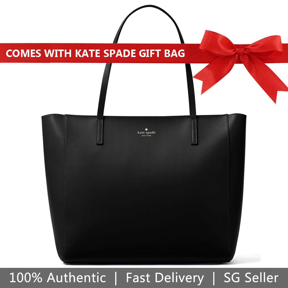 Kate Spade Tote With Gift Bag White Street Violeta Black # WKRU5444