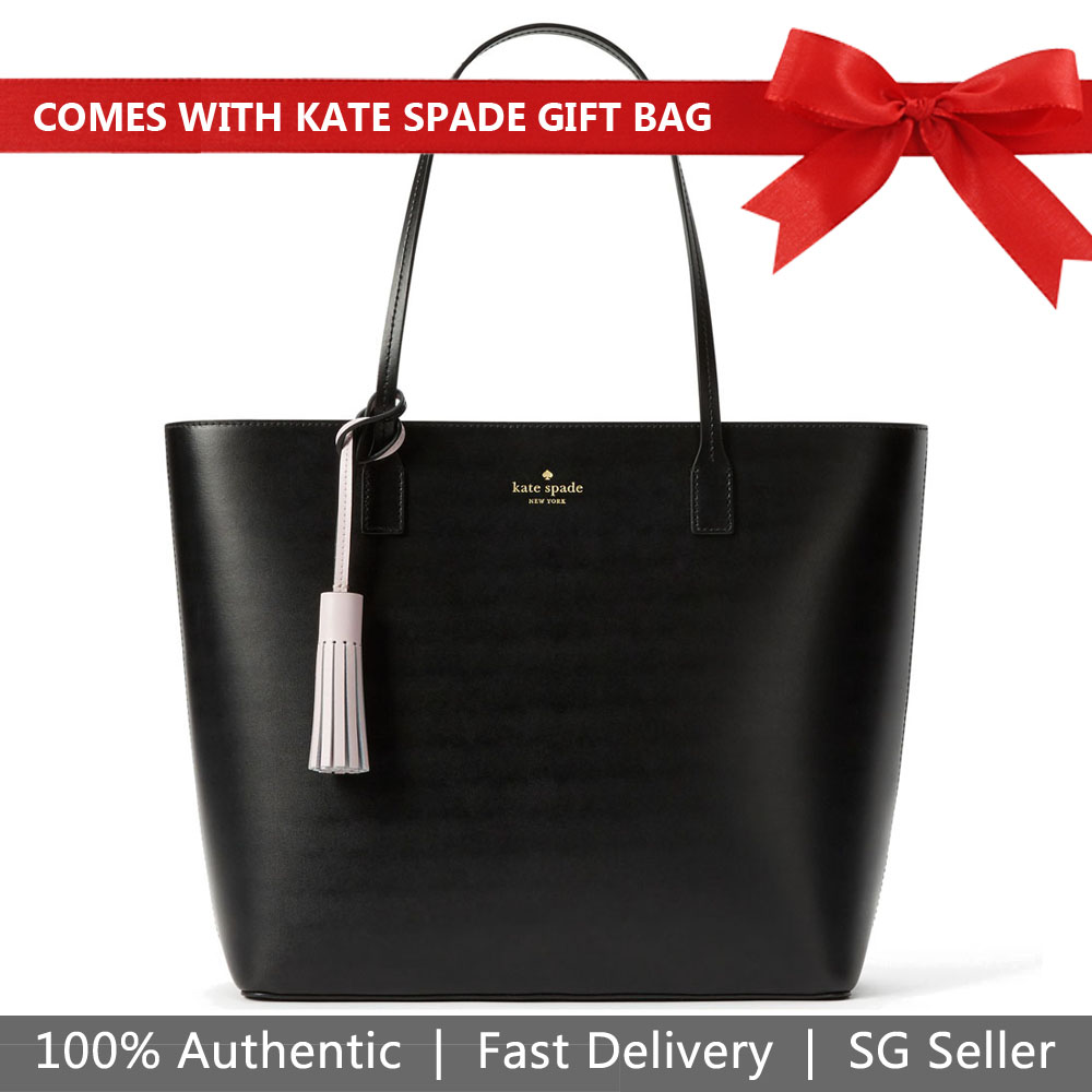 Kate Spade Tote With Gift Bag Wright Place Karla Tote Shoulder Bag Black / Plum Lilac Purple # WKRU4706