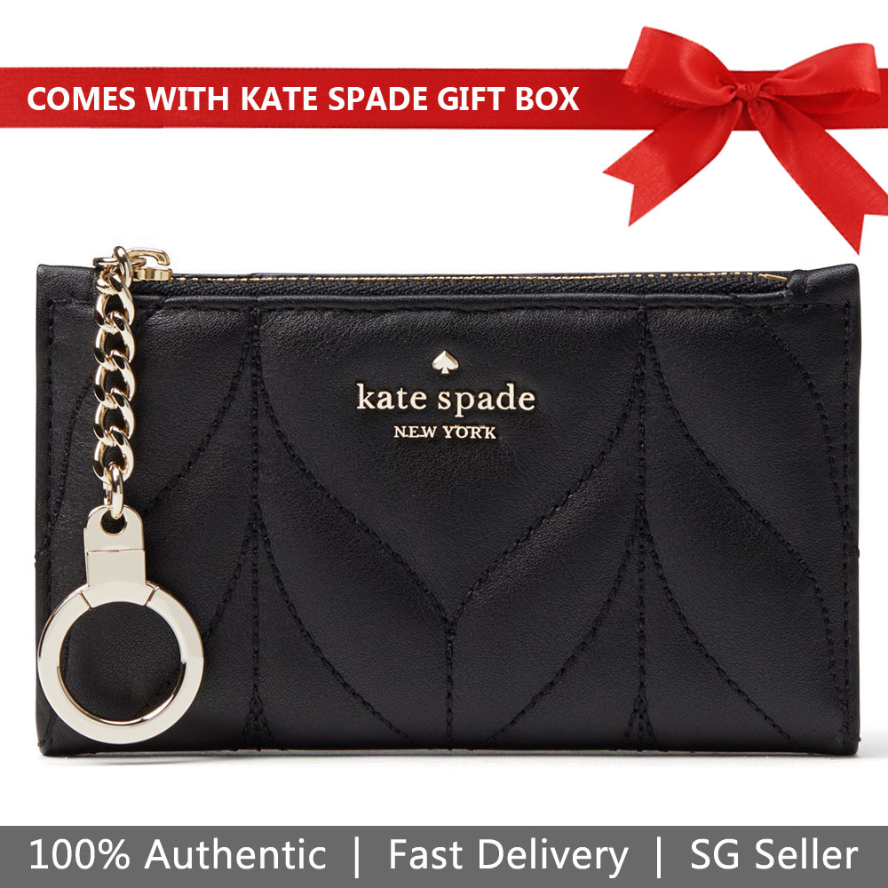 Kate Spade Wallet In Gift Box Briar Lane Quilted Mikey Small Wallet Black # WLRU5245