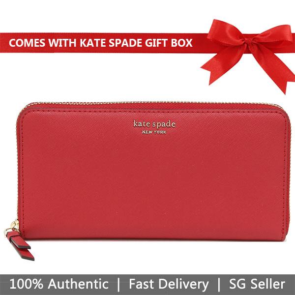Kate Spade Wallet In Gift Box Cameron Large Continental Zip Around Wallet Hot Chili Red # WLRU5448