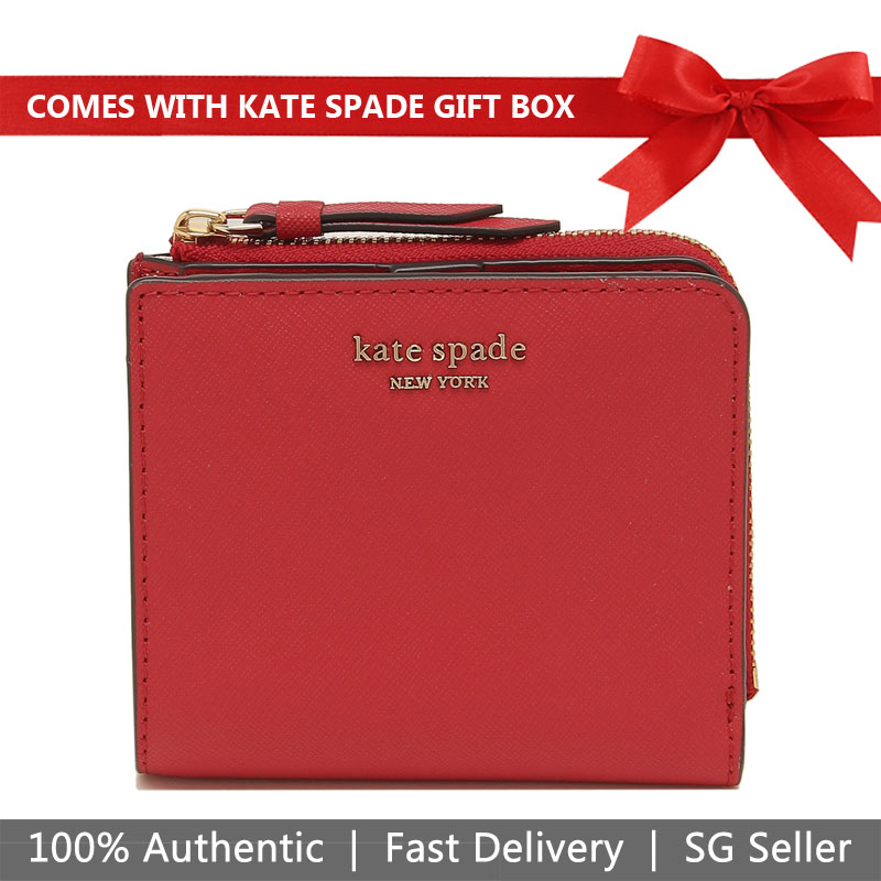 Kate Spade Wallet In Gift Box Cameron Small L-Zip Bifold Wallet Small Wallet Hot Chili Red # WLRU5431