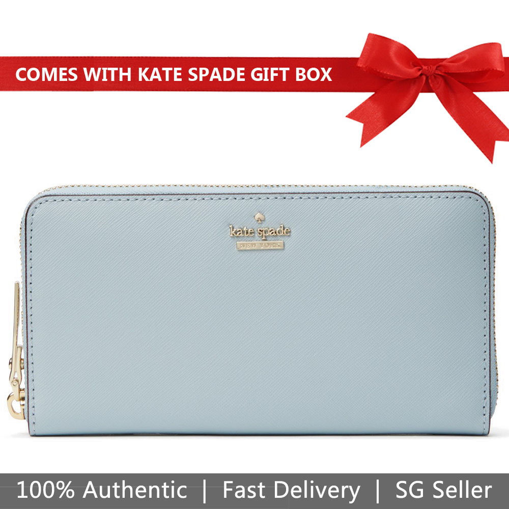 Kate Spade Wallet In Gift Box Cameron Street Lacey Wallet Light Blue # PWRU5073