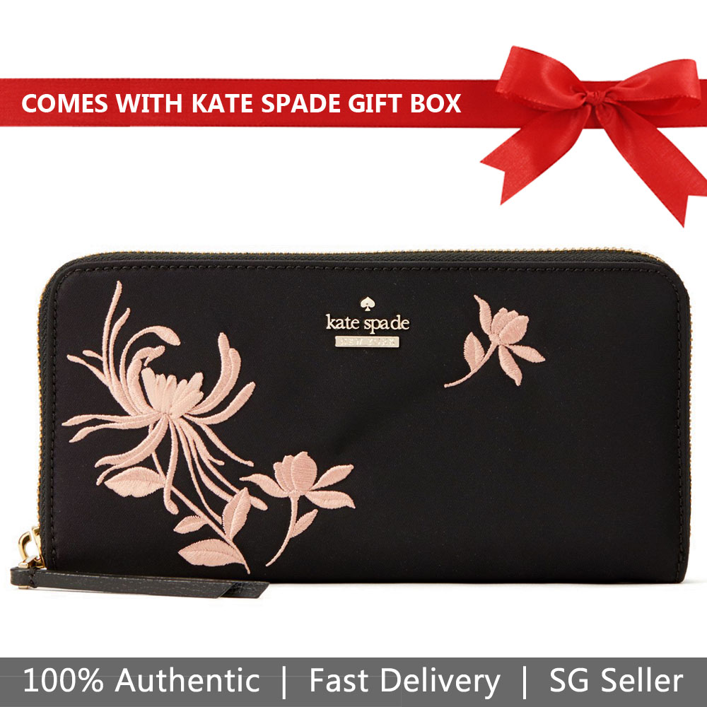 Kate Spade Wallet In Gift Box Dawn Place Embroidered Neda Black - Warm Vellum Nude Beige # WLRU5240