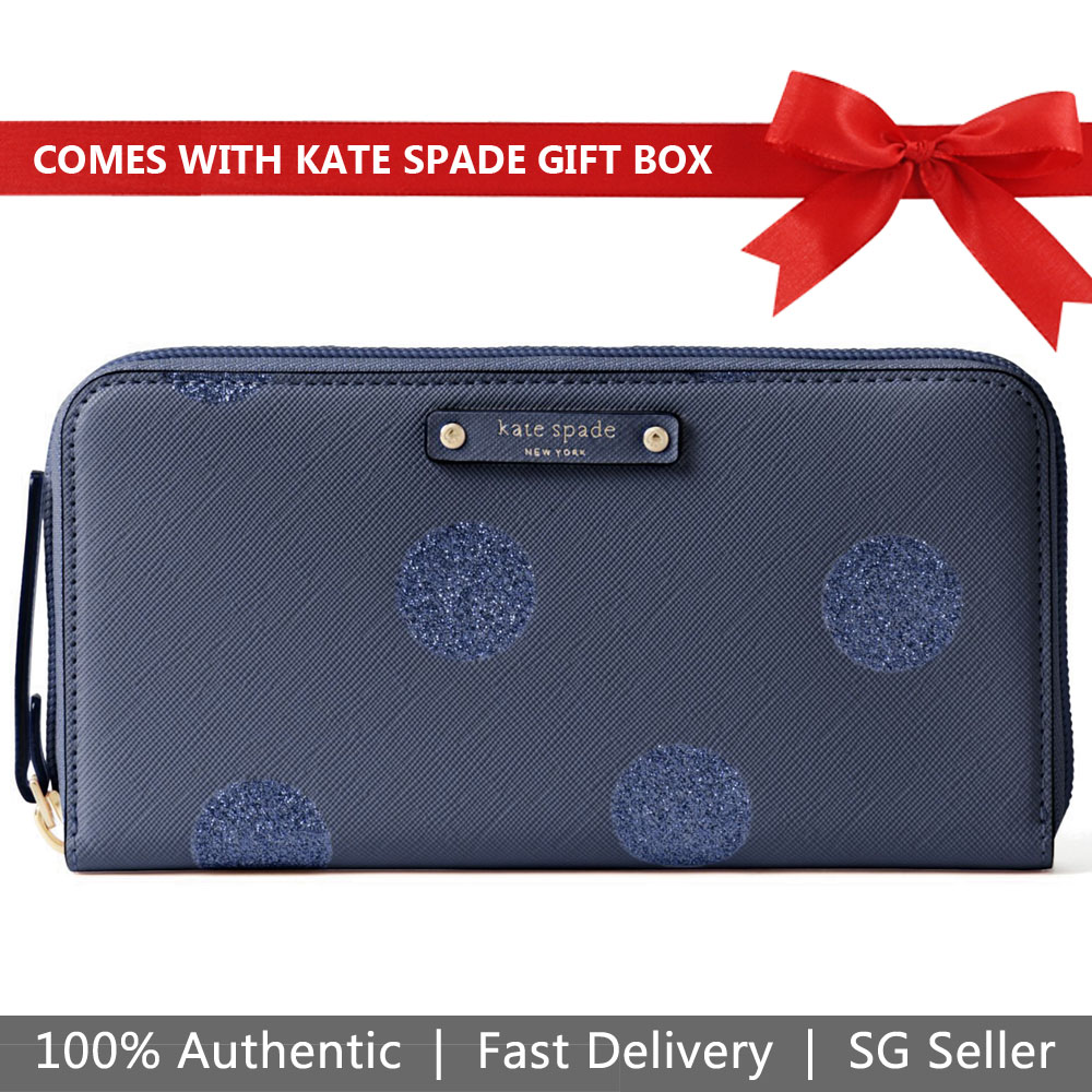 Kate Spade Wallet In Gift Box Haven Lane Neda French Navy Dark Blue # WLRU2695