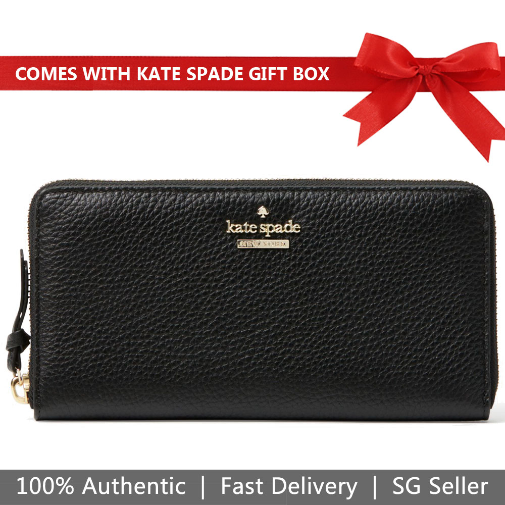 Kate Spade Wallet In Gift Box Jackson Street Lacey Continental Wallet Black # PWRU5596