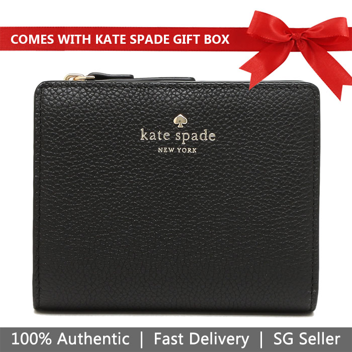 Kate Spade Wallet In Gift Box Larchmont Avenue Small Shawn Small Wallet Black # WLRU5243