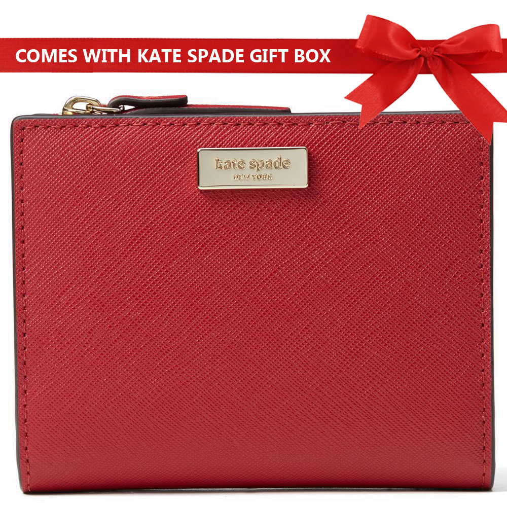 Kate Spade Wallet In Gift Box Laurel Way Hazy Rose Small Shawn Wallet Rooster Red # WLRU5049