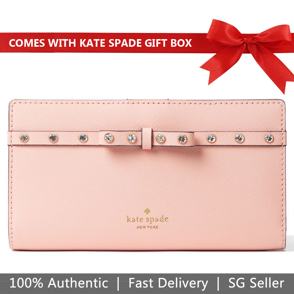 Kate Spade Wallet In Gift Box Laurel Way Jeweled Stacy Warm Vellum Beige Nude Pink # WLRU5192