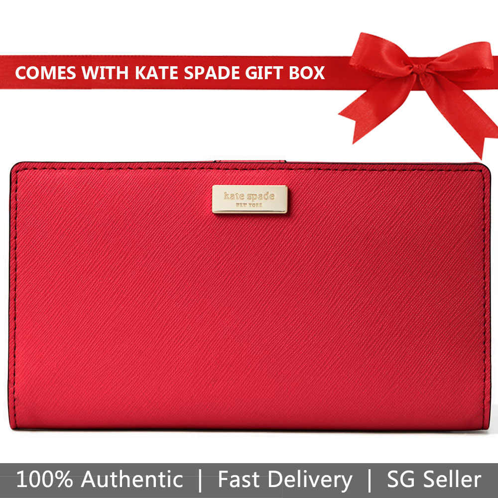 Kate Spade Wallet In Gift Box Laurel Way Stacy Continental Medium Wallet Hot Chilli Red # WLRU2673
