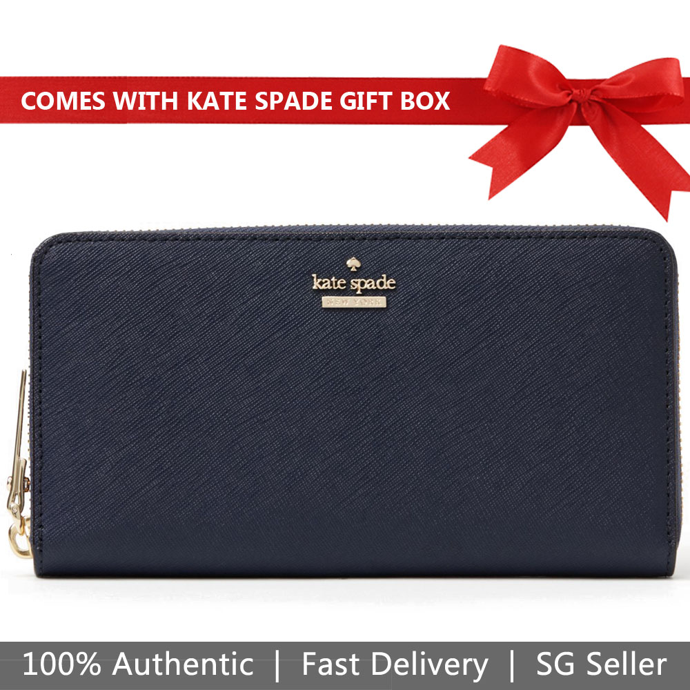 Kate Spade Wallet In Gift Box Long Wallet Cameron Street Lacey Blazer Blue # PWRU5073