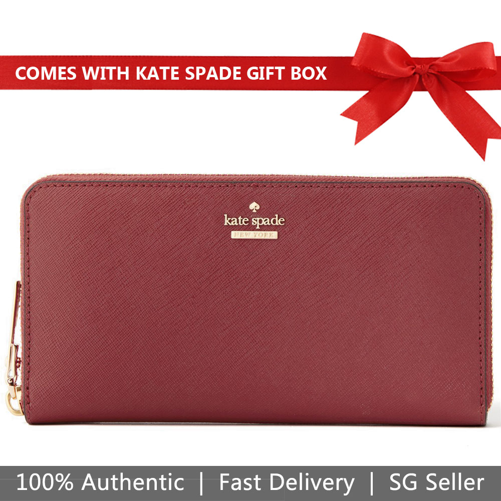 Kate Spade Wallet In Gift Box Long Wallet Cameron Street Lacey Sienna Red # PWRU5073