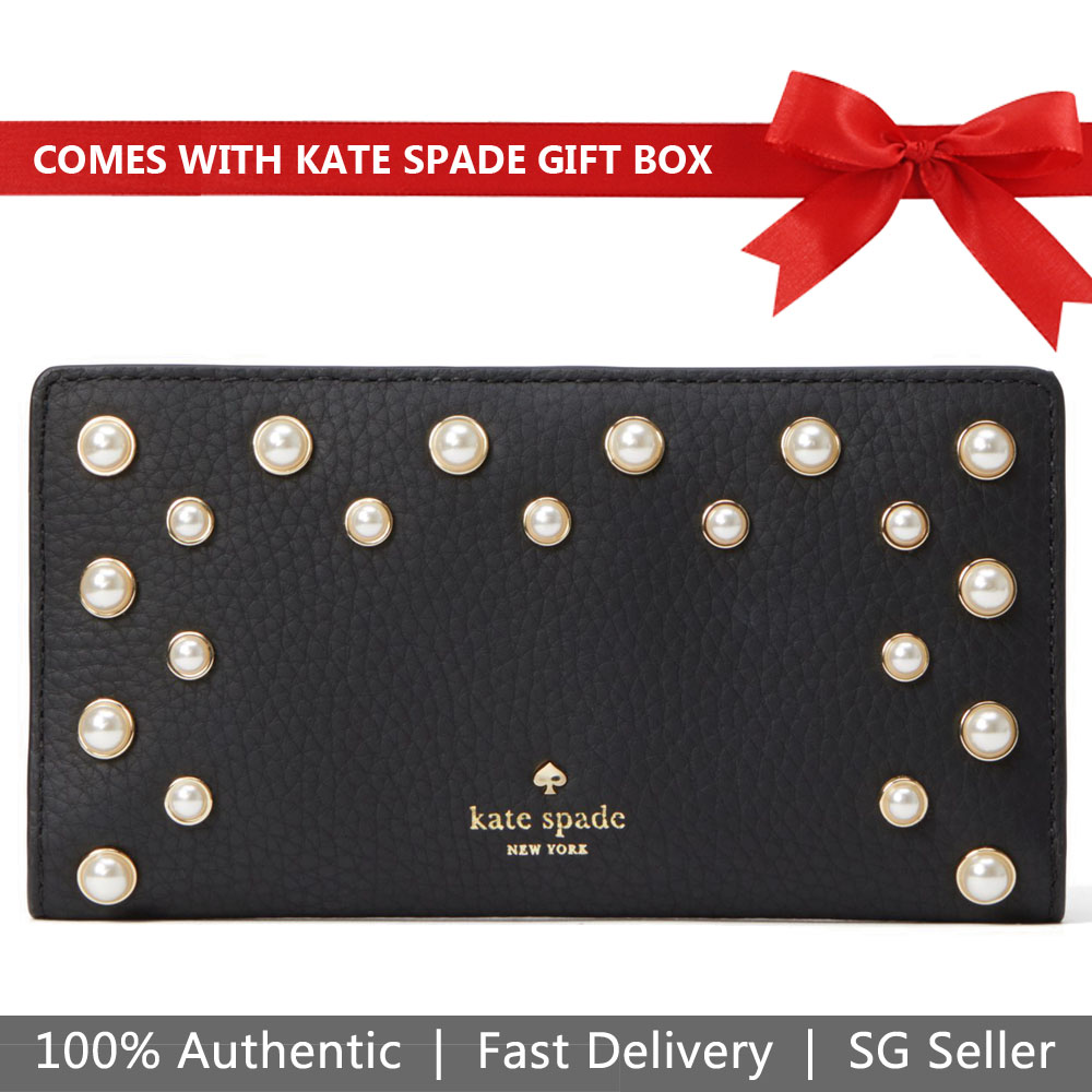 Kate Spade Wallet In Gift Box Serrano Place Pearl Stacy Medium Wallet Black # WLRU5202