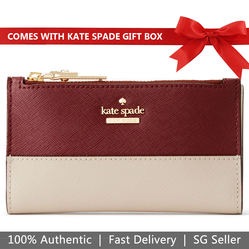 Kate Spade Wallet In Gift Box Small Wallet Cameron Street Mikey Sienna Red / Tusk Beige # PWRU6720
