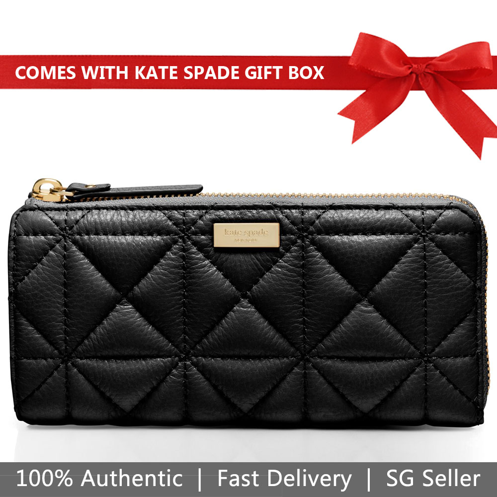 Kate Spade Wallet In Gift Box Whitaker Place Nisha Quilted Leather Black # WLRU2238
