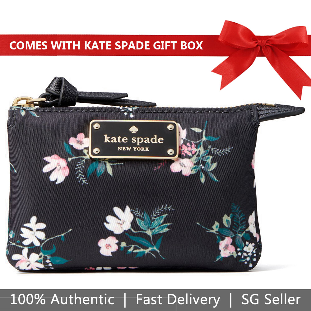 Kate Spade Wallet In Gift Box Wilson Road Flora Mini Natasha Small Wallet Coin Pouch Black # WLRU5303