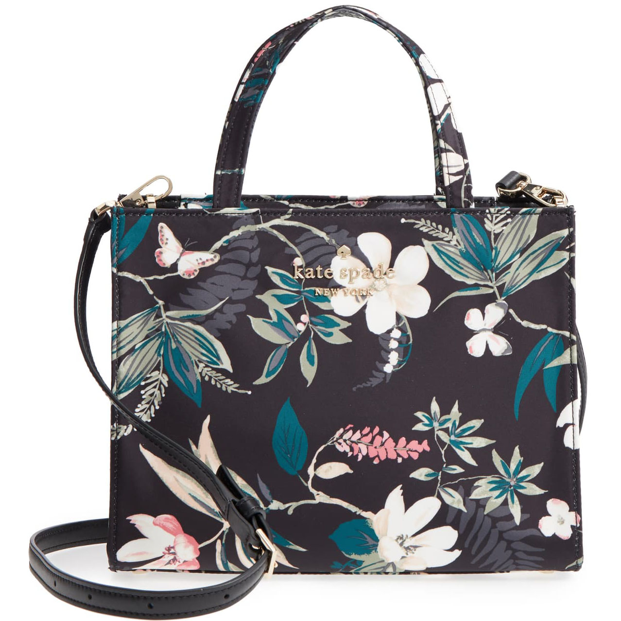 Kate Spade Watson Lane Botanical Sam Crossbody Bag Black Floral # PXRU8816