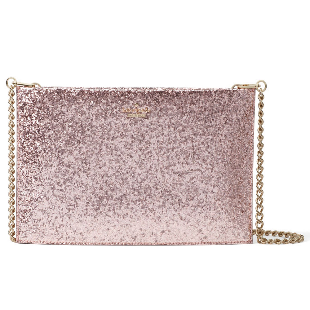 Kate Spade Wedding Belles Glitterbug Sima Clutch Crossbody Bag Rose # PXRU8184