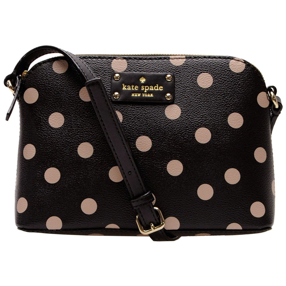 Kate Spade Wellesley Printed Hanna Crossbody Black / Beige Polka Dotted # WKRU3843