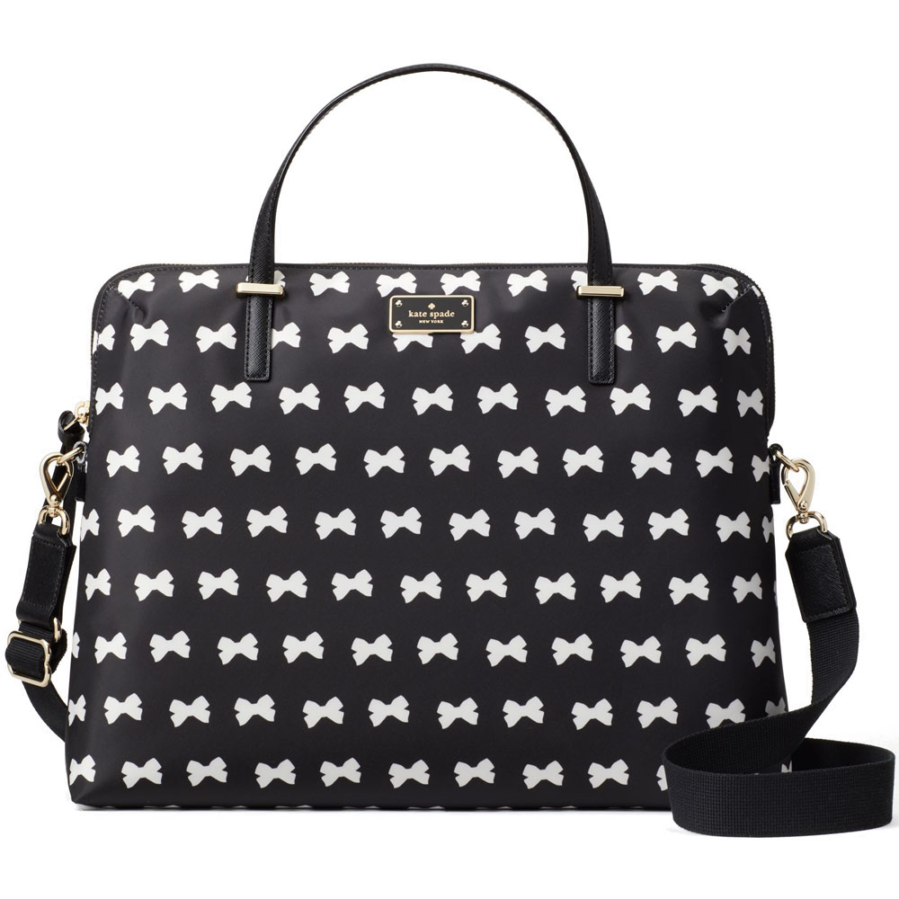 Kate Spade Wilson Road Bow Daveney Laptop Bag Black / Cream Bows # WKRU4831