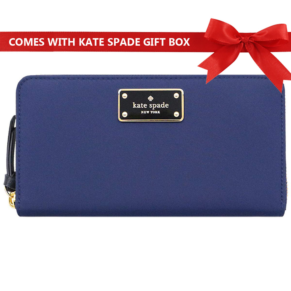 Kate Spade Wilson Road Neda Long Continental Zip Around Wallet French Navy Blue # WLRU3329