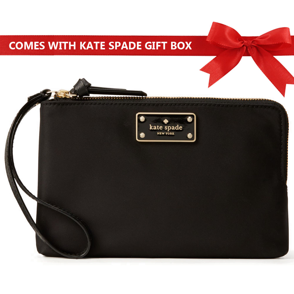 Kate Spade Wristlet In Gift Box Wilson Road Leoni Black # WLRU4854