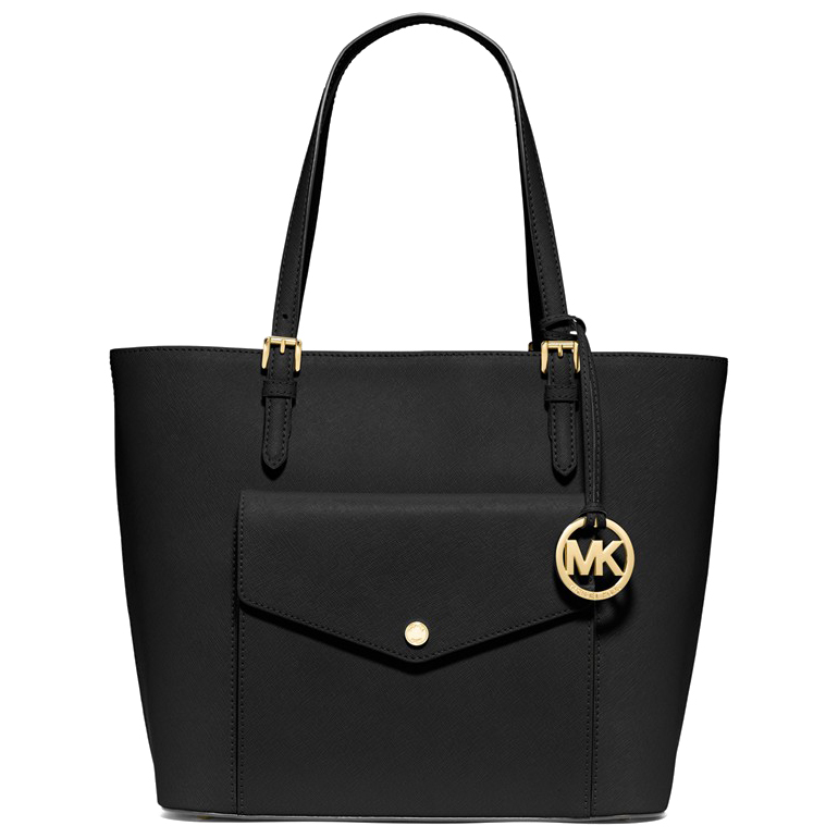 Michael Kors Jet Set Large Saffiano Leather Snap Pocket Tote Black # 35S6GTTT3L