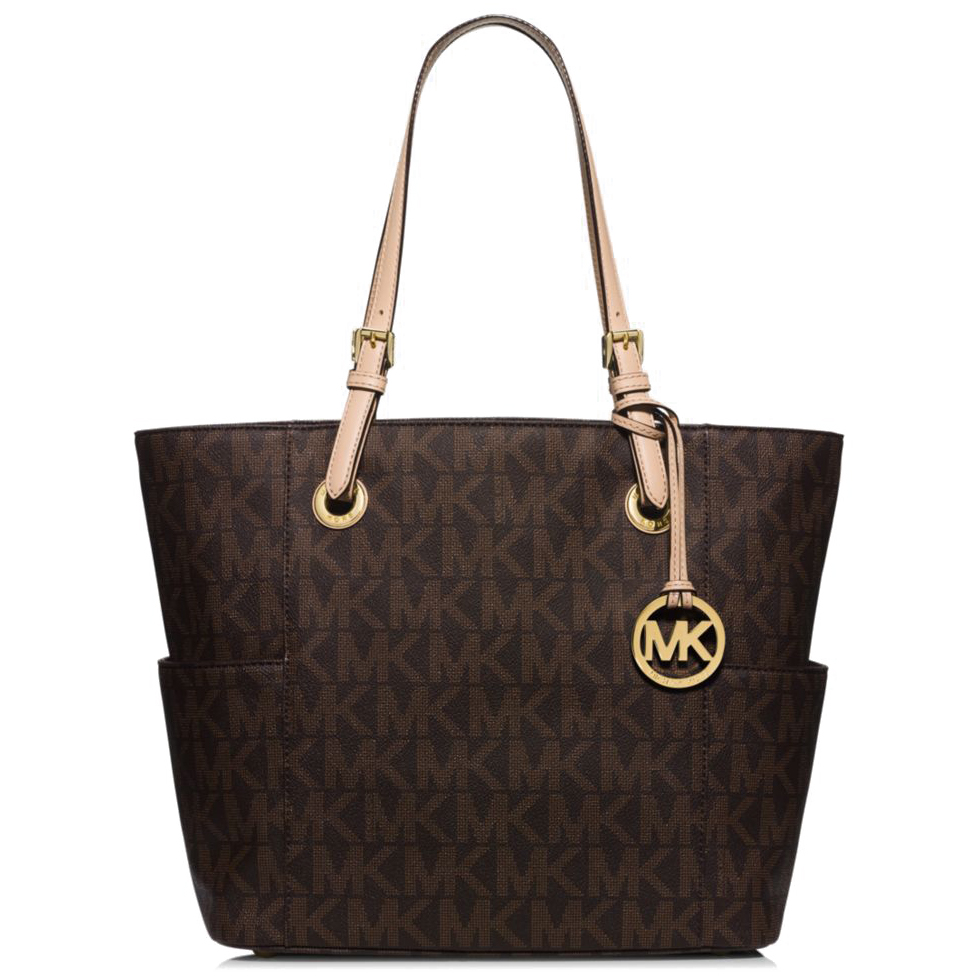 Michael Kors Jet Set Signature East West Logo Tote Brown # 35T2GTTT8B