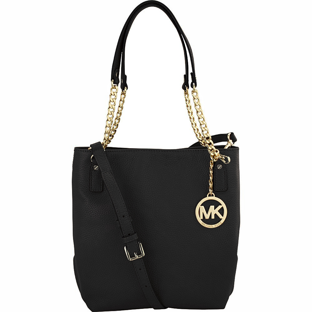 Michael Kors Leather Jet Set Chain Medium Messenger Crossbody Shoulder Bag Black # 35H5GTCM8E