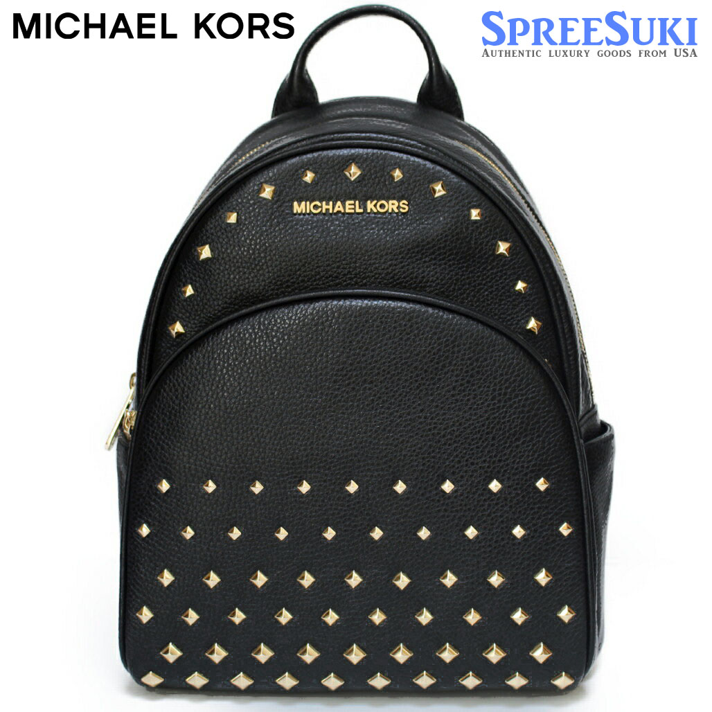 Michael Kors Abbey Medium Studded Leather Backpack Black # 35T8GAYB2L