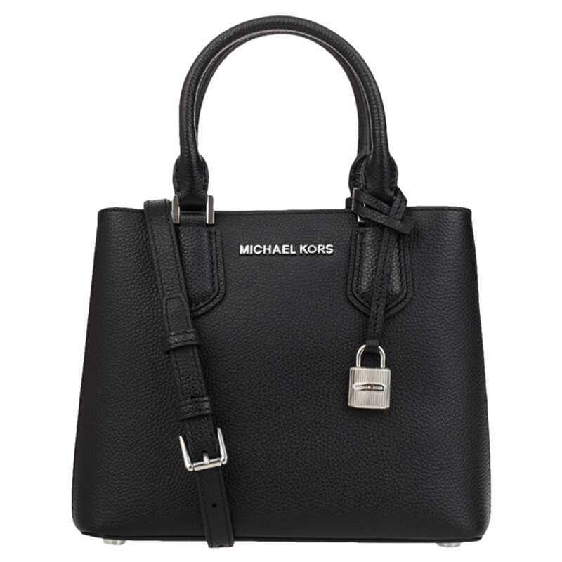 Michael Kors Adele Medium Messenger Satchel Black / Cement / Silver # 35T8SAFM2L
