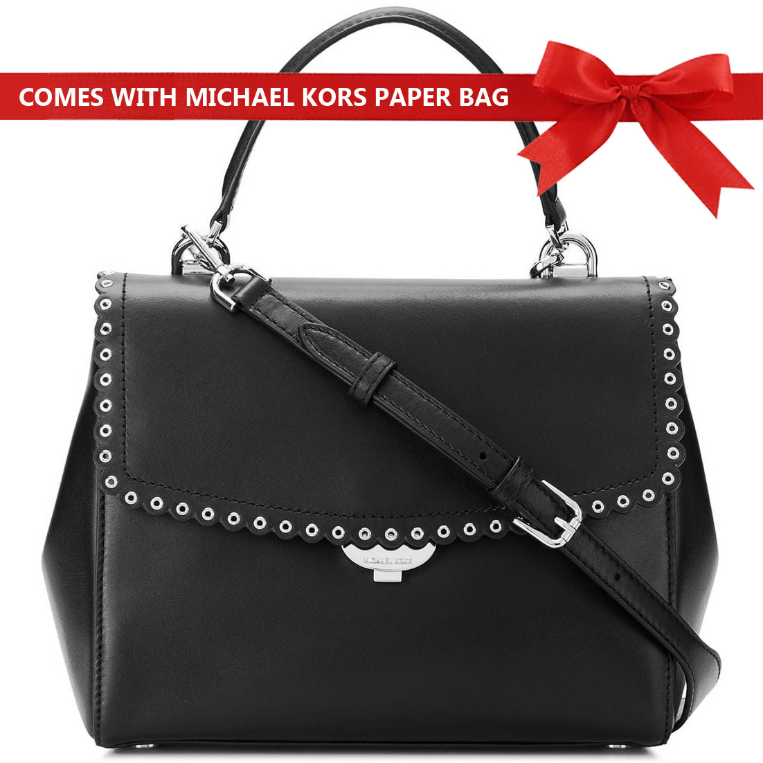 Michael Kors Ava Medium Top Zip Leather Satchel Shoulder Crossbody Bag Black / Silver # 30T8TAVS2I