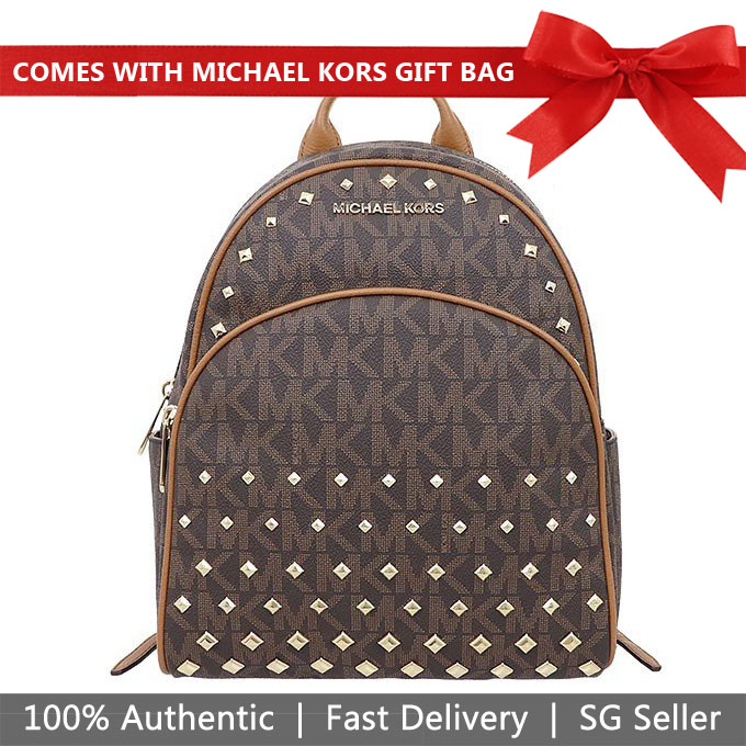 Michael Kors Backpack Abbey Medium Studded Backpack Brown / Acorn # 35T8GAYB6B